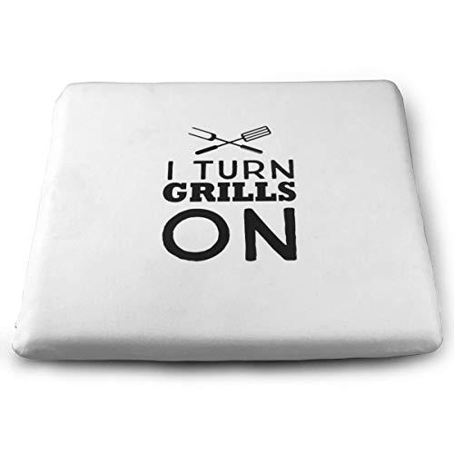 BathWang Sitzkissen aus Memory-Schaumstoff Autositzkissen zum Anheben der Höhe – Bürostuhl-Kissen – I Turn Grills On