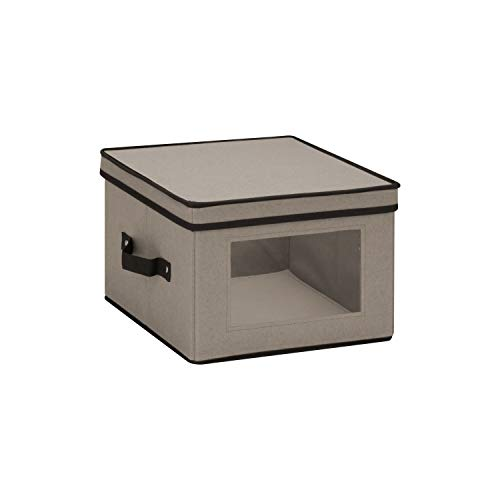 Honey-Can-Do SFT-05375 Medium Dinnerware Storage Window Box Gray 12 in L x 12 in W x 85 in H