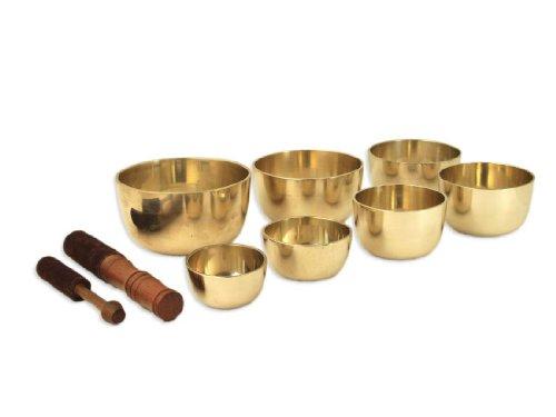 Therapeuten-Klangschalen-Set aus Sieben gegossene Klangschalen, inklusiv 2 Holz-/ Lederklöppel in unterschiedlichen Größen -5003-