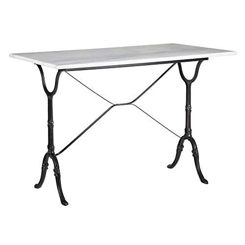 Mesa de Comedor para Desayuno de mármol y Metal Vintage Blanca y Negra de 71x60x100 cm - LOLAhome