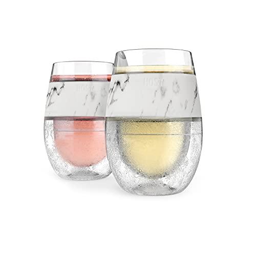 Host Juego de 2 vasos refrigerantes congeladores con doble pared aislados con gel, vasos para vino blanco y rojo, 8.5 onzas, mármol