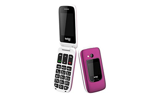 Facitel FS26 - Teléfono móvil fácil Uso para Personas Mayores con Tapa, 2 Pantallas, Botón SOS, Bluetooth y Amplificador de Sonido (Fucsia)