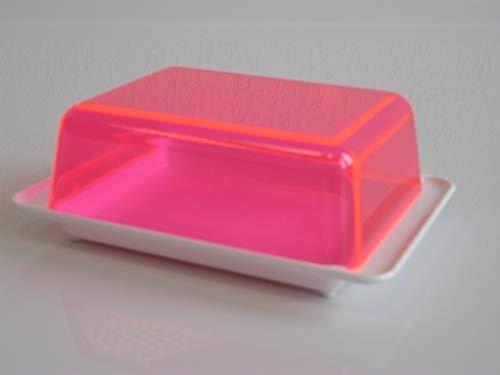 Kimmel Mantequillera, plástico, Blanco/Rojo Transparente