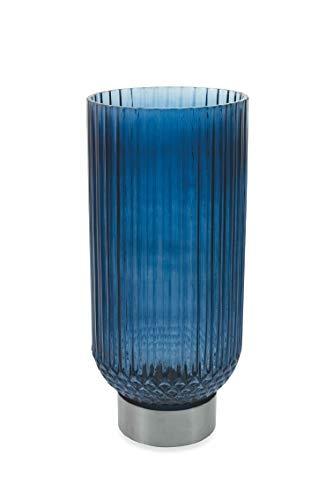 Villa D'Este Home Tivoli Deco vaas, cilindrisch, zilverkleurig, blauw