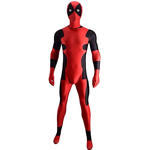 FLJLGY Niños Deadpool Disfraz Body Adultos Niños Disfraces de Halloween Cosplay Niños Niñas Mono de Navidad Ropa Zentai 3D Impreso Super Heros Medias Onesies,Red- Men L 165~170cm