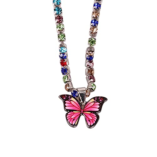 FENGGUO Tobillera de cadena de tenis con diseño de mariposa de diamantes de imitación, tobillera de cristal, estilo bohemio, cadena de pie para mujer