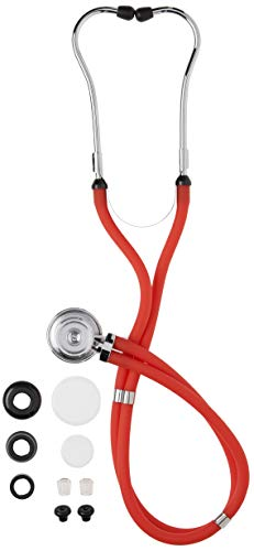 MABIS Legacy Series Sprague Rappaport Dual Head Stethoscope with 3 Bells and 2 Diaphragms, for Professional and Home use, Red, 30 inch