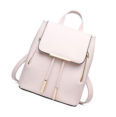Huabor Women backpac purse PU Leather Fashion Shoulder Rucksack Mini Casual Backpack Satchel and handbag (Beige)
