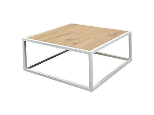 SPINDER Diva salontafel plaat eiken geolied frame staal wit 80x80x35cm TS397-01-14