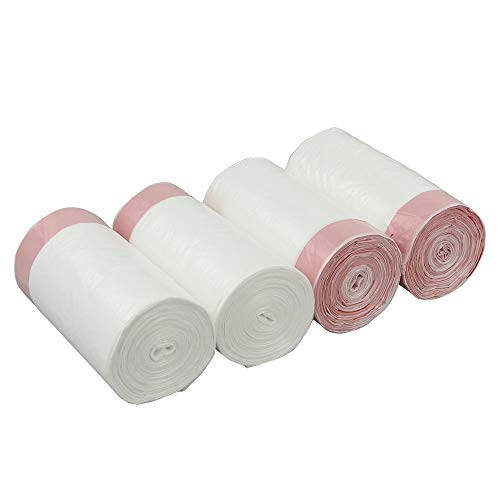 Cadine 5L Müllbeutel mit Zugband, Weiß Müllbeutel 5l, 4 Roll / 240 Counts