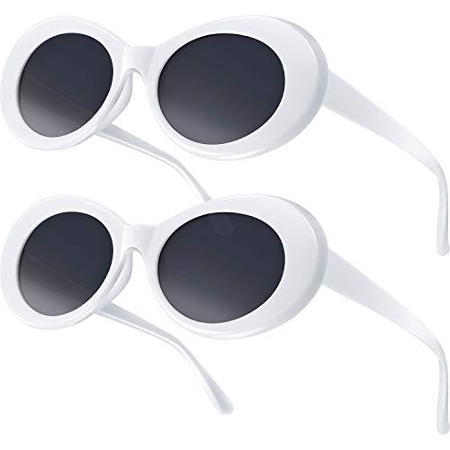 2 Stück Klassische Retro Ovale Sonnenbrille Hippie Sonnenbrille Vintage Runde 60er Steampunk Sonnenbrille Männer Frauen