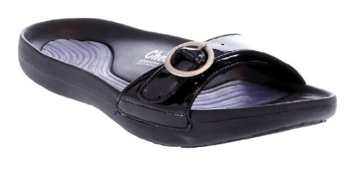 Tony Little Cheeks Exercise Sandals with Adjustable Strap (8, Black)