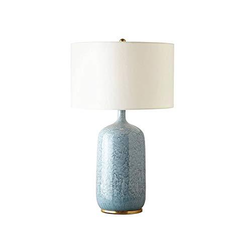 Yjdr Lámpara de mesa de cerámica azul de 26 pulgadas Mesa de noche de mesa de sala de estar creativa Lámpara de mesa Retro chino Sitio de modelo Cálido Control remoto, fuente de luz E27