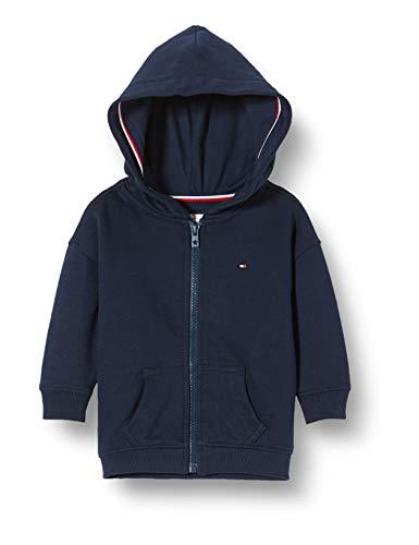 Tommy Hilfiger Mädchen Essential Signature Zip Hoodie Kapuzenpullover, Blau (Blue Cbk), One Size (Herstellergröße: 86)