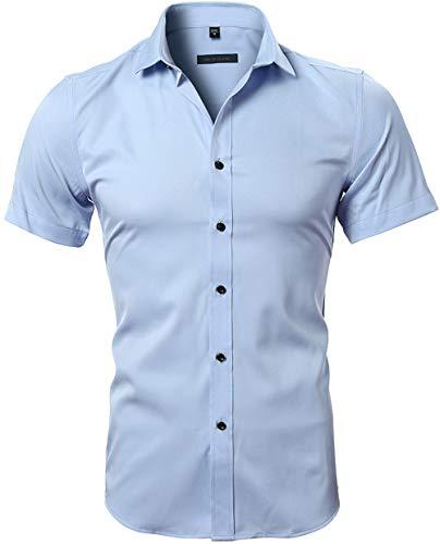HARRMS Herren Hemd Kurzarm Slim Fit Bambusfaser für Anzug/Business/Hochzeit/Freizeit,Hemden Shirts für Männer,Himmel Blau,XL-43 EU