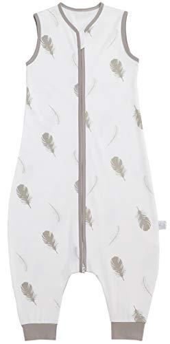 Chilsuessy Baby Schlafsack Sommer mit Füßen 0.5 Tog 100% Baumwolle Kinder Sommerschlafsack für Jungen und Mädchen, Feder, 110cm /Baby Höhe 120-130cm