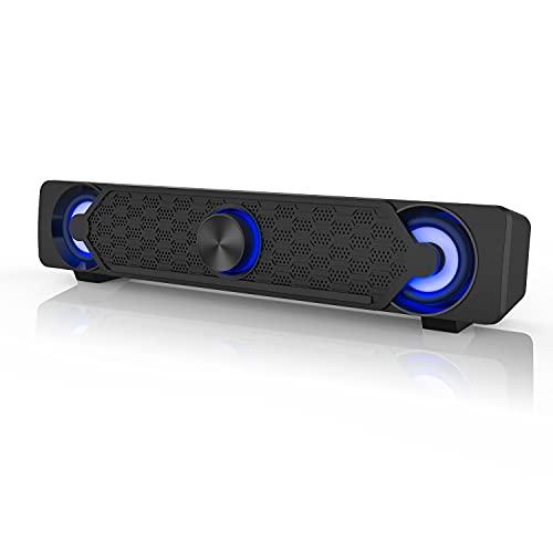 Computer Speakers,Smalody PC Speaker Mini Led Soundbar Cool Design Perfect for Monitor Gaming Laptop...