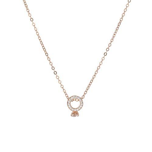 wanghuiminwje Rotgold Diamantring eingelegten Stein Anhänger 925 Sterling Silber einfaches Temperament Damen Halskette Schlüsselbein Kette Kettenlänge: 42cm