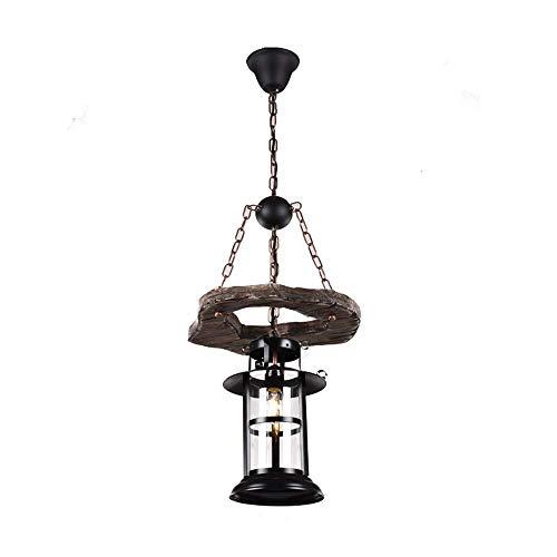 YUNZHI La Vendimia del Hierro labrado E27 / E26 luz de Techo Cafe Restaurante, Café Internet, Linterna Europea y Americana País Creativo Barco de Madera de la Linterna de la lámpara de 60W