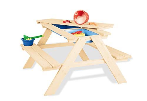 Pinolino 201093 Kindersitzgarnitur 'Matsch-Nicki für 4', natur, Transparent