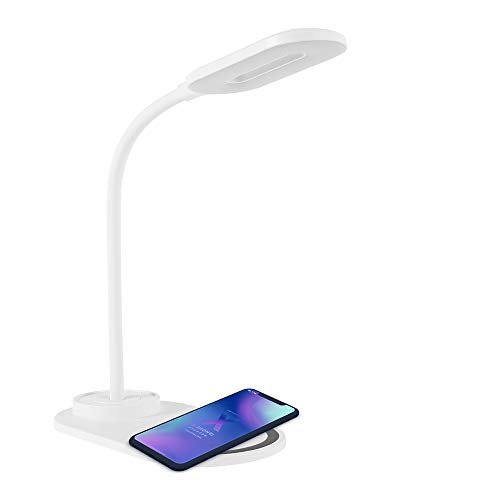 Lámpara Escritorio LED Flexo con Carga Inalámbrica Wireless 2 Temperaturas 3 Modos Lámpara de Control Táctil Luz Nocturna para Cuidado de Los Ojos para Leer Trabajar y Más