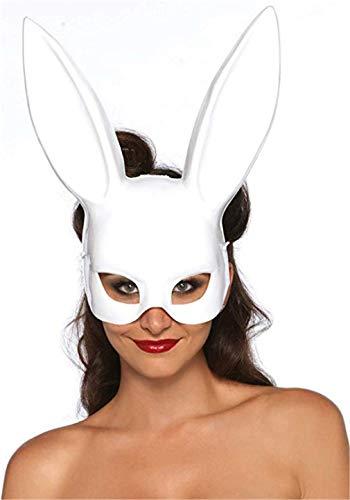 Ulalaza Dames Bunny Mask Kostuum Black Rabbit Half Masker voor Pasen Maskerade Accessoires Eén maat wit