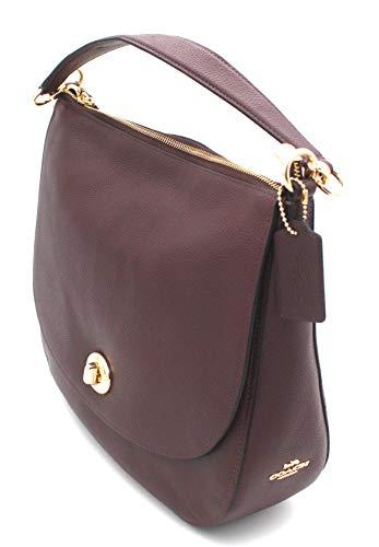 Coach Turnlock Hobo Pebble Leather Shoulder Bag Burgundy/Gold