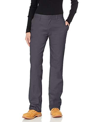 Dickies Damen Hose mit Flacher Vorderseite, knitterfrei, Fleckenabschluss - grau - 44 Regulär