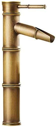 Moderne waterkraan met dubbele wastafel, waterkraan, warm en koud water, waterkraan, hoge pan, mengkraan, bamboe, water