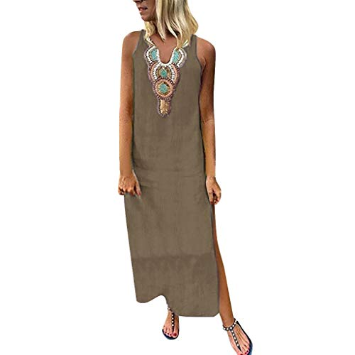 Women's Dresses - Summer Boho Floral Ruffle V Neck Backless Spaghetti Strap Skater Flowy Gypsy Long Maxi Beach Dress Khaki
