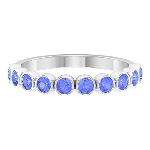 Anillo de eternidad con bisel de 10 piedras preciosas para mujer, anillo de media eternidad, oro blanco, Metal precioso. Piedra preciosa. Piedra, Diamante negro creado en laboratorio,