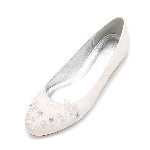 AQTEC Zapatos Planos con Punta Cerrada para Mujer de satén Zapatos de Boda Planos Bailarinas Sandalias,Marfil,42 EU