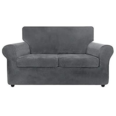 ZNSAYOTX Luxury Velvet Couch Cover 3 Piece Stretch Sofa Covers for 2 Cushion Couch Soft Loveseat Slipcover Living Room Anti Slip Dogs Pet Love Seat Furnitre Protector (Grey, Loveseat)