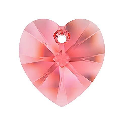 1 colgante con elementos de Swarovski – Corazón (6228), rosa melocotón, 14,4 x 14 mm (colgante Swarovski Elements – corazón (6228), rosa melocotón.