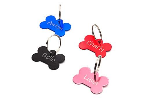 CopterFarm Hundeknochen, Haustier, Hundemarke mit Gravur beidseitig inkl. Schlüsselring | Knochen | Anhänger, ID Tag Hund, Adressschild, Adressmarke, Adressanhänger für Hundehalsband | viele Farben