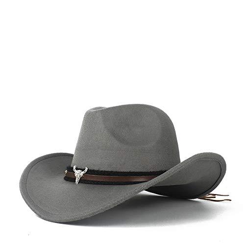 Xuguiping Mannen Vrouwen Wol Western Cowboy Hoed Met Koe Hoofd Lederen Band Fascinator Sombrero Hoed Kerk Hoed Maat 56-58CM 56-58 Lichtgrijs