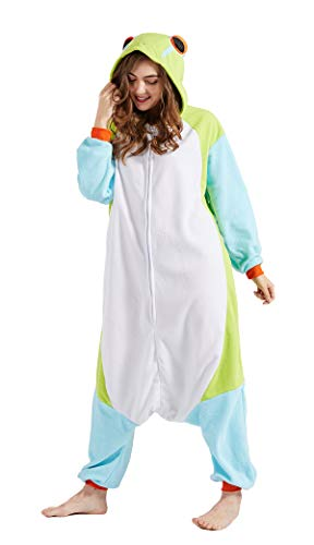 Pijama Animal Entero Unisex para Adultos con Capucha Cosplay Pyjamas Ropa de Dormir Traje de Disfraz para Festival de Carnaval Halloween Navidad Nuevo Rana M(156-167CM)