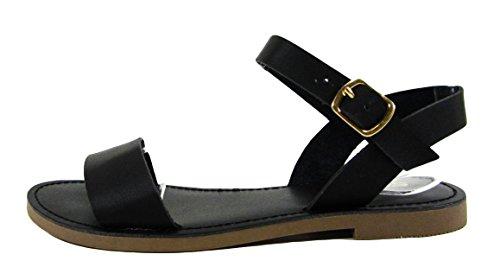 Soda Damen-Sandalen mit Knöchelriemen., Schwarz (Schwarz (Black Pu)), 40 EU