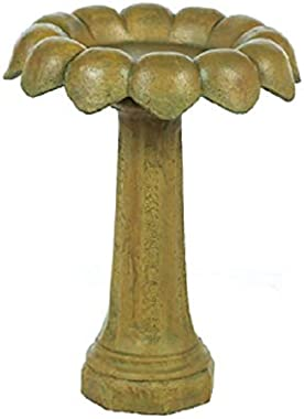Solid Rock Stoneworks Sunflower Birdbath 27in Tall x 21in Diameter 2pc Brushed Moss Color