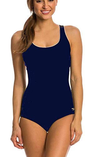 Speedo Women's One Piece Swimsuit,Keyhole Racerback, Moderate Cut Contrast Trim (Peacoat, Large)