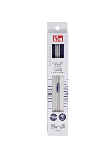 Prym Ergonomics 8-Inch Double-Point Knitting Needle, Size 1 (5-Pack)