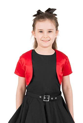 BlackButterfly BlackButterfly Kinder Satin Kurzarm Bolero Mädchen (Rot, 13-14 Jahre)