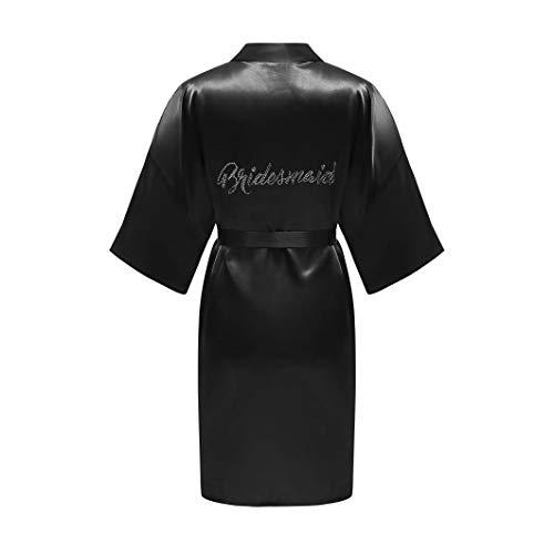 ALHAVONE Damen-Kimono, Einheitsgröße, Strass, für Braut, Brautjungfer, seidig, kurz, einfarbig, für die Hochzeit - Schwarz - Einheitsgröße