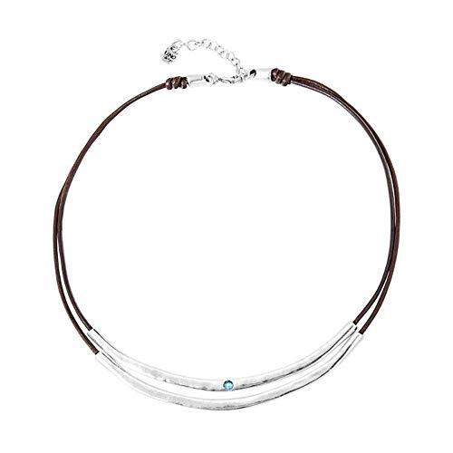 Collar Balance de Uno de 50 COL1591AZUMTL0U - con cuero marrón y metal bañado en plata, con piedras centrales de swarovski azul