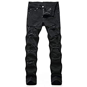 Men's Stylish Outfit Distressed Ripped Regular Slim Fit Stretchy Acti...