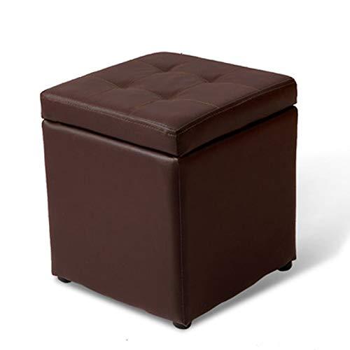 QAZX Pouf Pouf Cubo Poggiapiedi Sgabello Contenitore Cassapanca Pieghevole Carico Max 300 kg (Color : Brown)