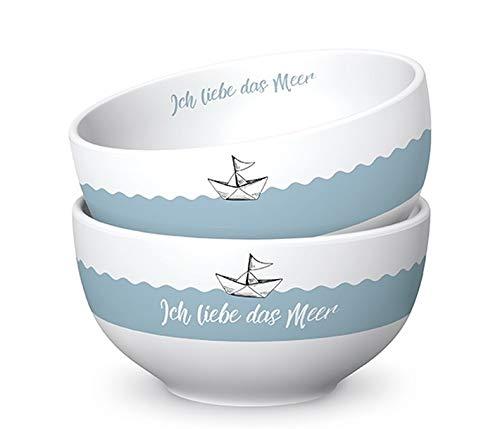 Geschenk Für Dich :-) Müslischale ICH Liebe DAS Meer blau weiß D. 13cm H. 7cm Maritim Porzellan La Vid