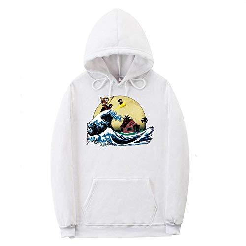 Maglione da Uomo Felpa con Cappuccio Top Abbigliamento Sportivo Maniche Lunghe Tempo Libero Autunno/Inverno Goku Sportswear (Blanc-1+M)
