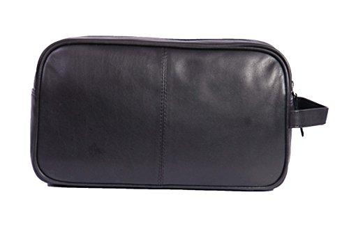 A1 FASHION GOODS Trousse de toilette en cuir pour hommes Voyage Toiletry poignet Rasage Kit Sac en cuir noir A98