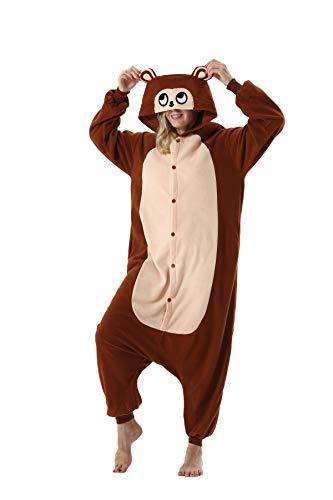 Erwachsene Jumpsuit Onesie Tier Karton Fasching Halloween Kostüm Sleepsuit Cosplay Overall Pyjama Schlafanzug, Brauner Affe, S